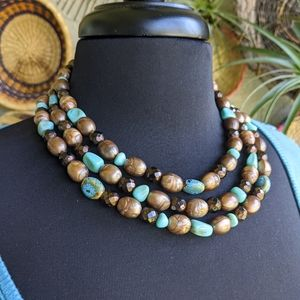 Jewelry - Bohemian Turquoise Layer Necklace Bronze Beaded